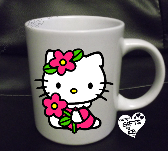 Flowered Hello Kitty custom Mug