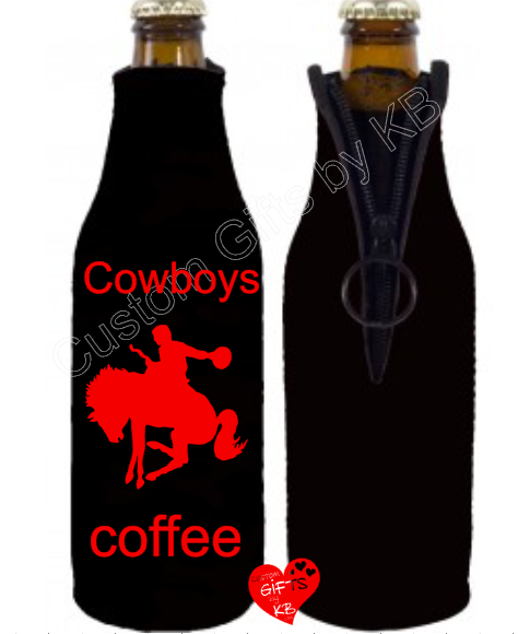 Cowboys cup of Coffee Bottle Koozie