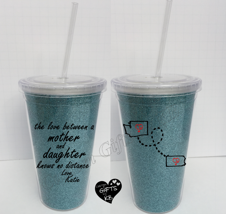 Mother and Daughter knows no distance Glitter Tumbler